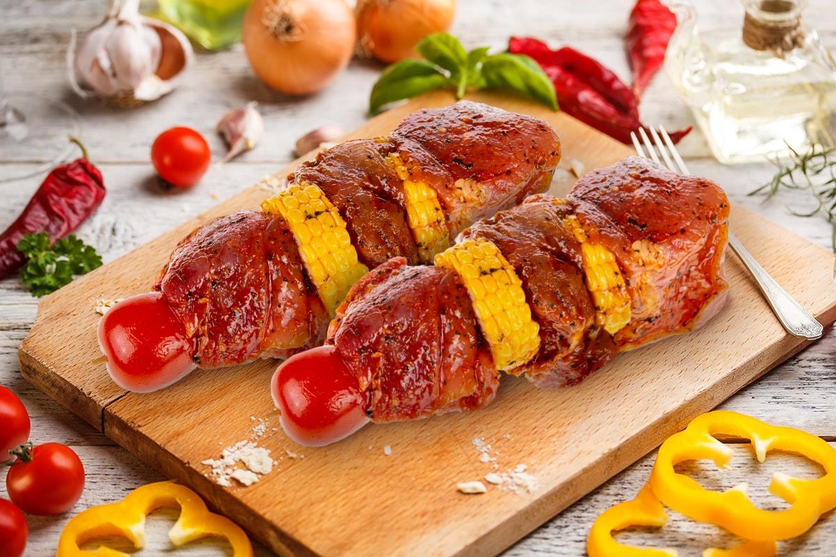 Шашлык из свиного окорока По-средиземноморски, охлажденный