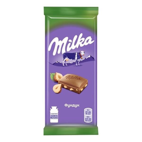 Шоколад молочный Milka 85г фундук