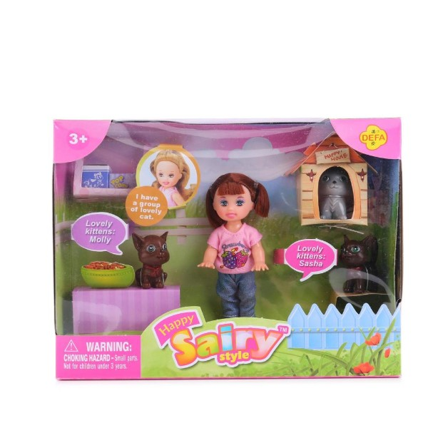 Кукла с 3 кошками и собакой Defa Lucy