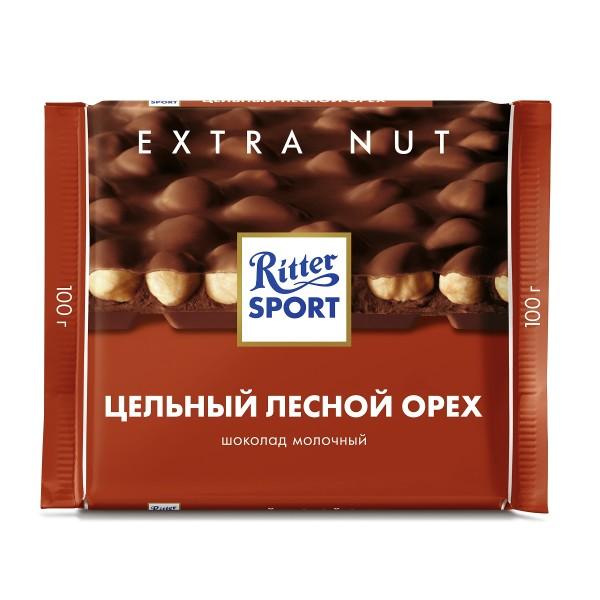 Шоколад молочный Цельный лесной орех Ritter Sport 100гр