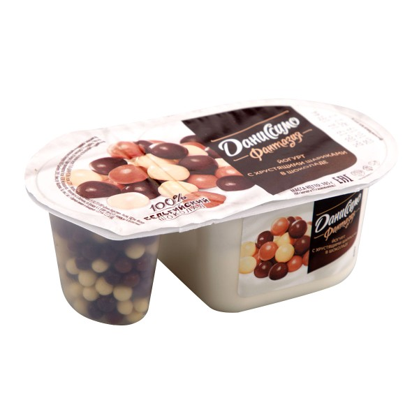 Йогурт Даниссимо фантазия 6,9% 105гр хрустящие шарики в шоколаде БЗМЖ