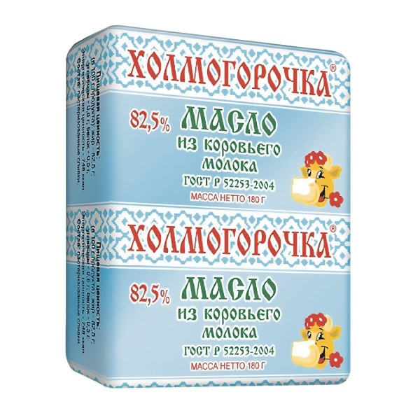 Масло сливочное Холмогорочка ГОСТ 82,5% 180гр БЗМЖ