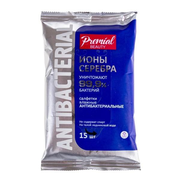 Влажные салфетки Premial Ионы серебра антибактериальные 15шт