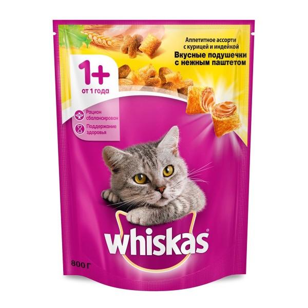 Корм для кошек Аппетитное ассорти Whiskas 800г с нежным паштетом с курицей и индейкой