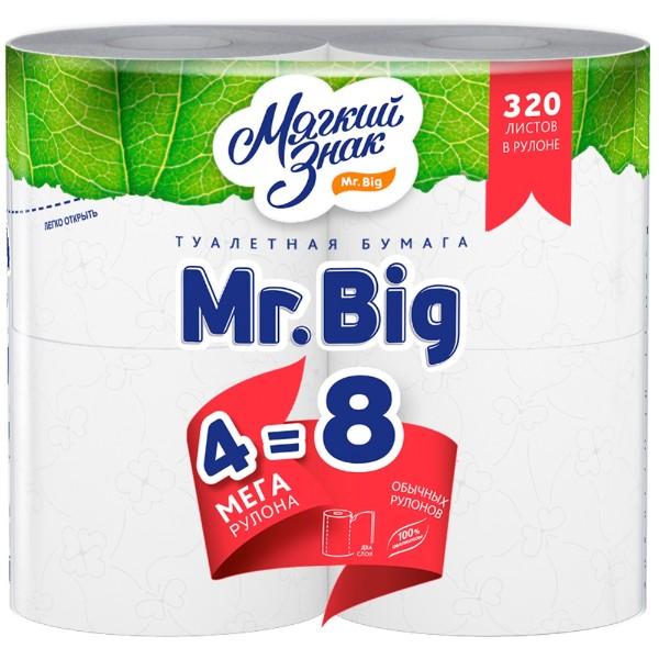 Бумага туалетная Mr.Big Мягкий знак 2 слоя 4 мегарулона