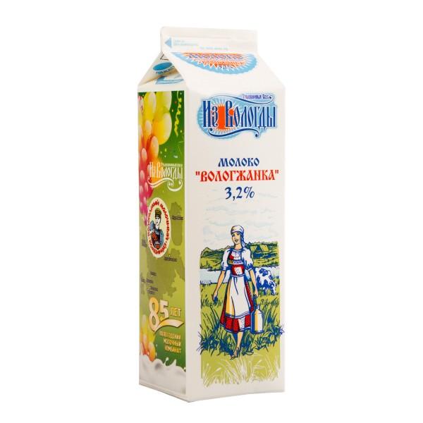 Молоко пастеризованное Вологжанка 3,2% Из Вологды 970мл БЗМЖ
