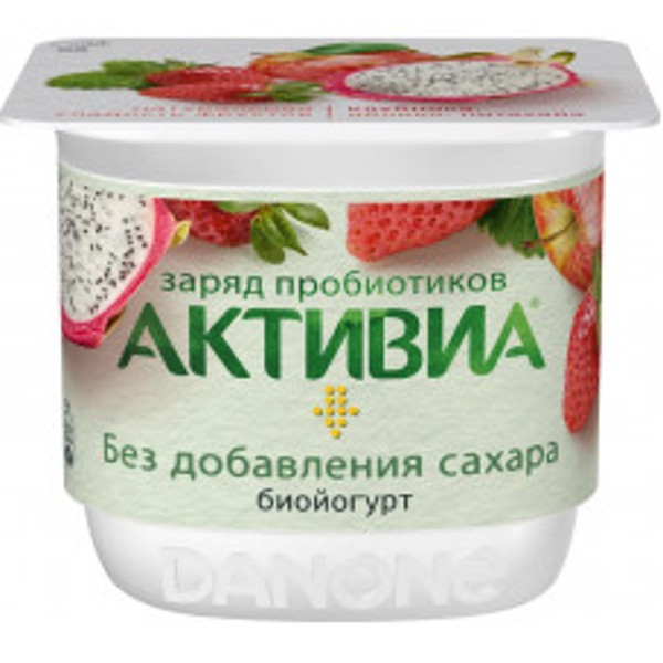 Биойогурт Активиа 2,9% 150г клубника-яблоко-питахайя БЗМЖ