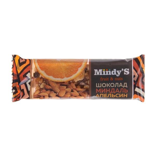 Батончик ореховый Mindy's 35гр шоколад-миндаль-апельсин