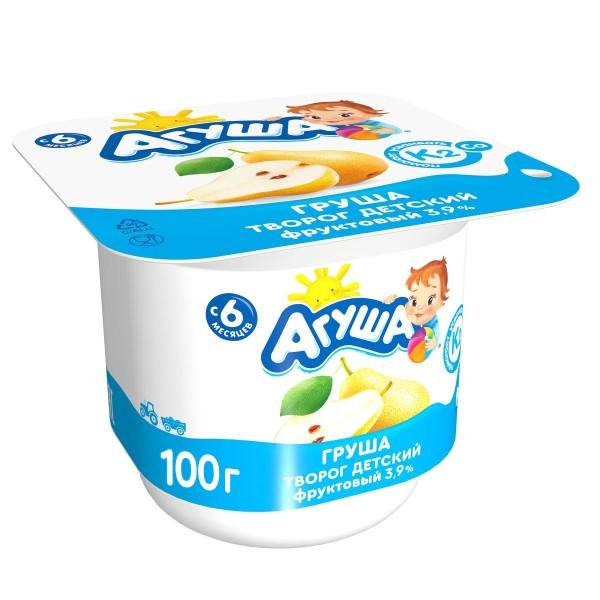 Творог фруктовый Агуша 3,9% 100гр груша БЗМЖ