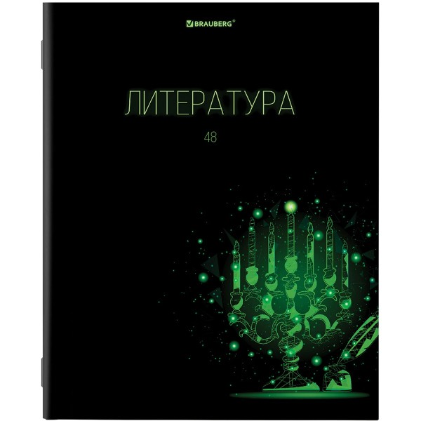 Тетрадь предметная Dark 48л Brauberg литература