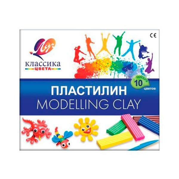 Пластилин со стеком Классика цвета 10 цветов 200гр