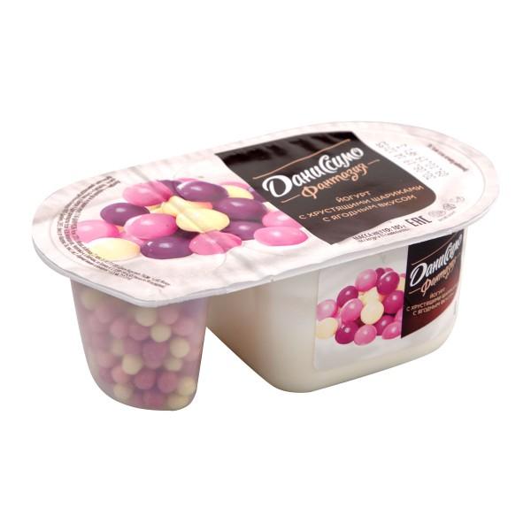 Йогурт Даниссимо фантазия 6,9% 105гр ягодные шарики БЗМЖ