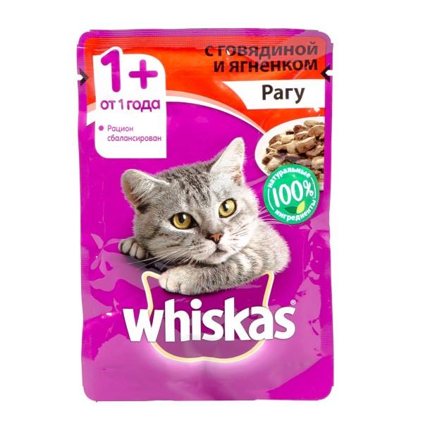 Корм для кошек Whiskas 85гр рагу с говядиной и ягненком