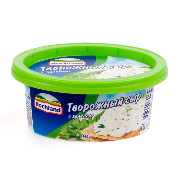 Сыр творожный Hochland 140гр с зеленью БЗМЖ