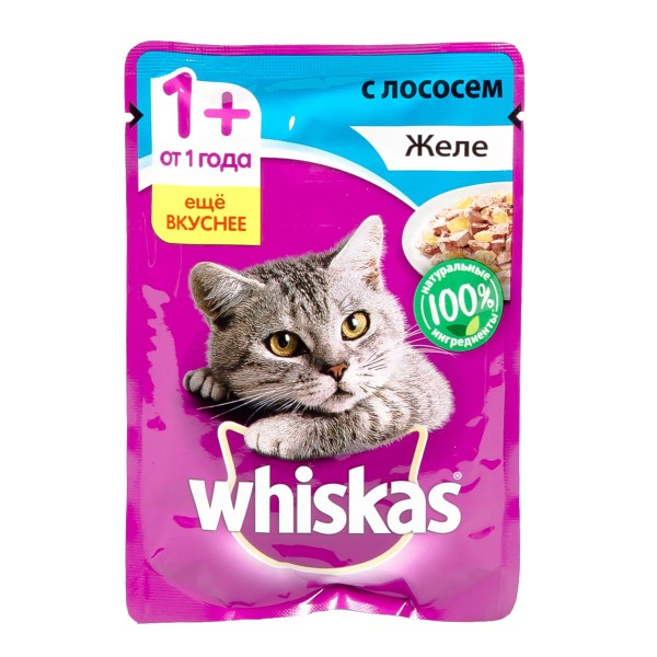 Корм для кошек Whiskas 85гр желе с лососем