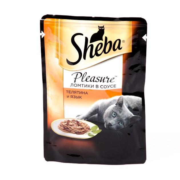 Корм для кошек Pleasure Sheba 85гр телятина и язык