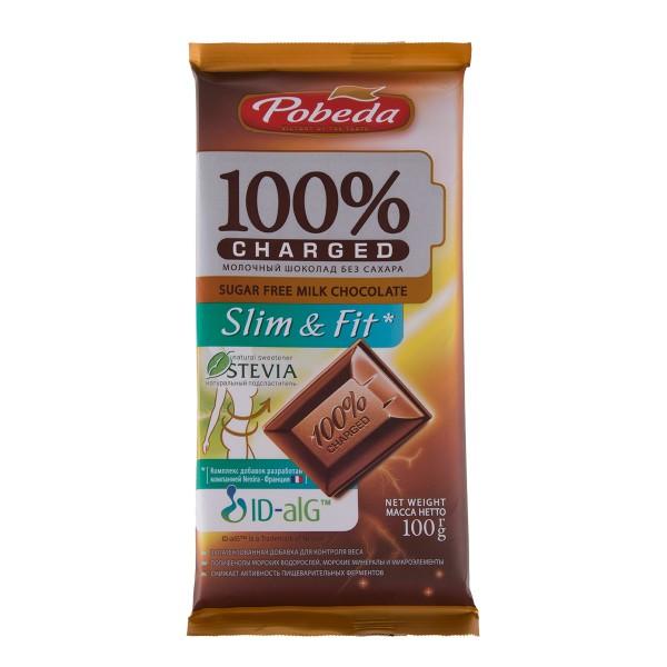 Шоколад молочный 100% Charger Slim & Fit Победа 100гр без сахара