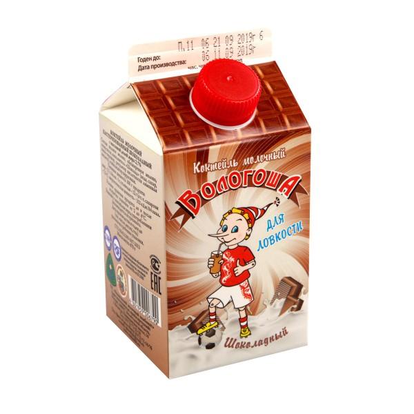 Коктейль молочный Вологоша 2,7% Вологда 470г шоколадный БЗМЖ