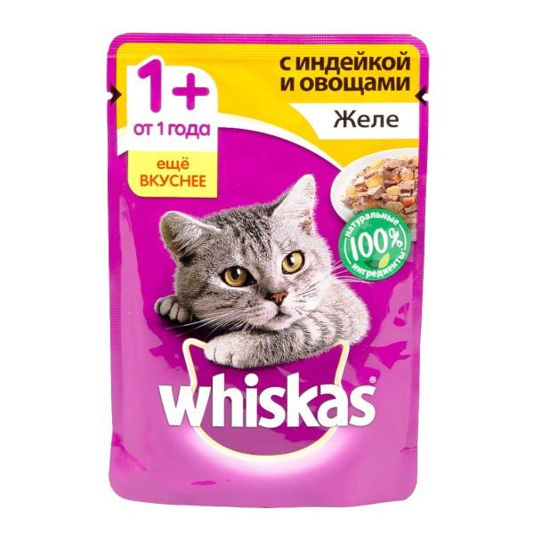 Корм для кошек Whiskas 85гр желе с индейкой