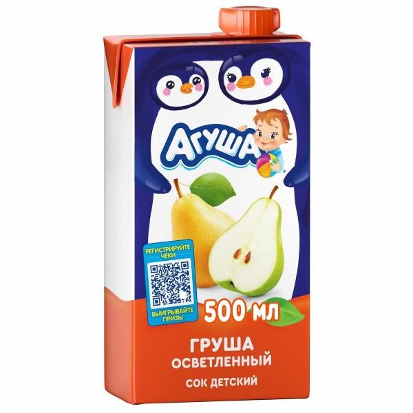 Сок детский осветленный Агуша 500мл груша