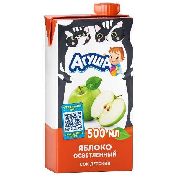Сок детский осветленный Агуша 500мл яблоко