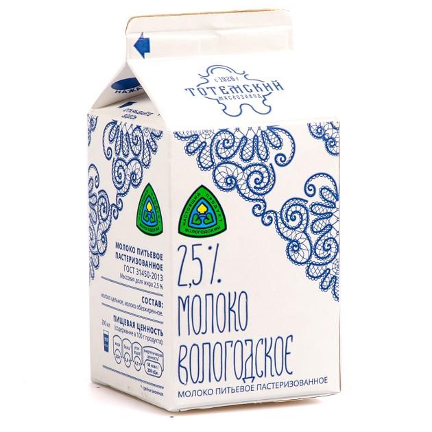Молоко пастеризованное Вологодское Тотемский маслозавод 2,5% 470мл БЗМЖ