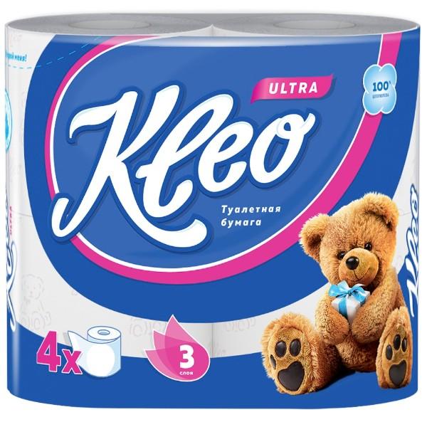 Бумага туалетная Kleo Ultra 3 слоя 4 рулона