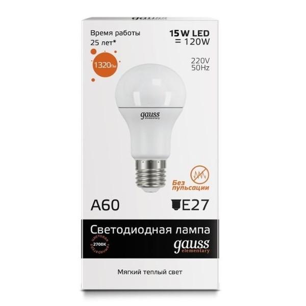 Лампа светодиодная Gauss A60 15W E27 3000K