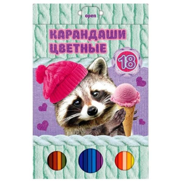 Карандаши цветные VK милашки 18цветов Hatber