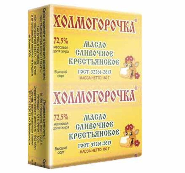 Масло сливочное 72,5% Крестьянское Холмогорочка 180гр БЗМЖ