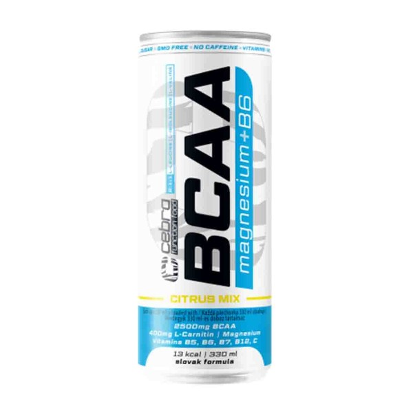Напиток безалкогольный слабогазированный витаминизированный BCAA Cebra Mg+ В6 330мл citrus mix
