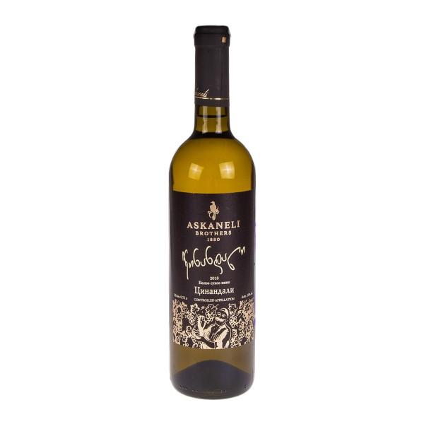 Вино выдержанное белое сухое Цинандили Askaneli 12-13%  0,75л