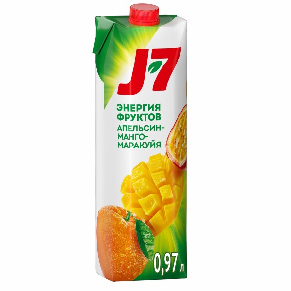 Нектар J-7 0,97л апельсин-манго-маракуйя с мякотью