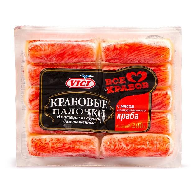 Крабовые палочки с мясом натурального краба замороженные Vici 200г