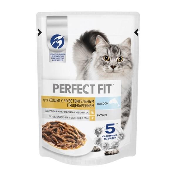 Корм Perfect Fit 75г для кошек с чувствительным пищеварением с лососем в соусе