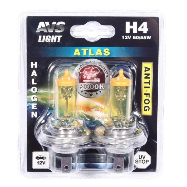 Лампа галогенная AVS Atlas Anti-Fog желтый H4 12V 60/55W 2шт