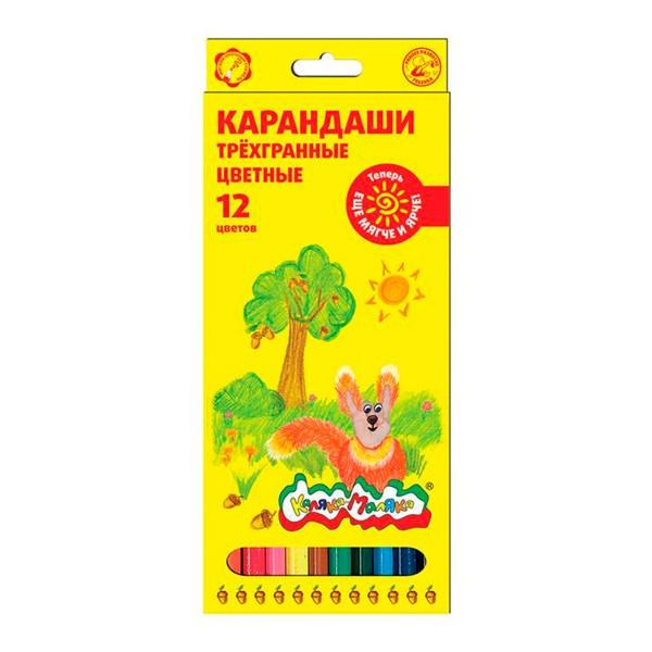 Карандаши цветные трехгранные Каляка Маляка 12 штук