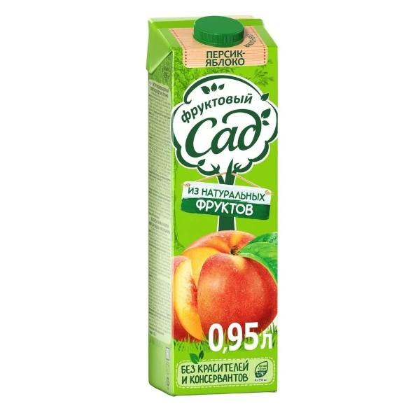 Нектар Фруктовый сад 0,95л персик-яблоко с мякотью