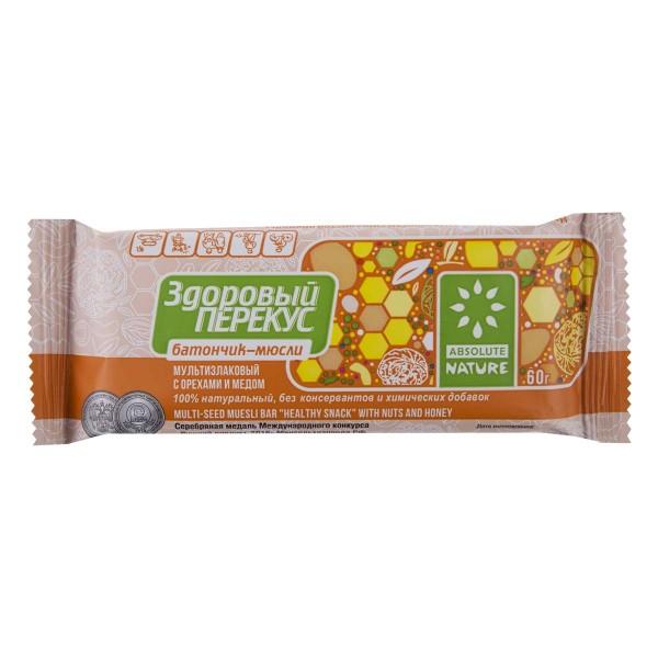 Батончик-мюсли Здоровый перекус 60гр мультизлаковый с орехами и медом