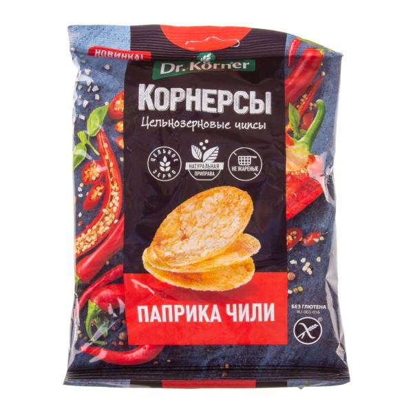 Чипсы кукурузно-рисовые с паприкой и чили Dr. Korner 50гр