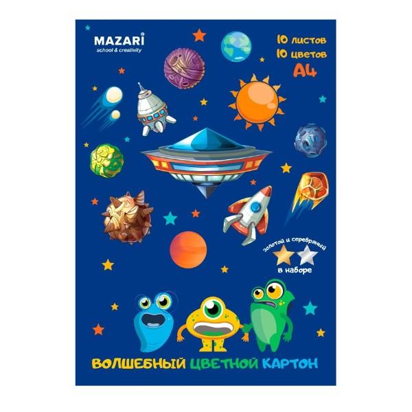 КАРТОН ЦВЕТНОЙ ЗОЛОТО+СЕРЕБРО 10Л 10ЦВ (MAZARI,АРТ.M-2068)