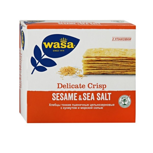 Хлебцы цельнозерновые тонкие Wasa 190гр кунжут и морская соль