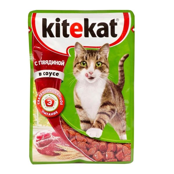 Корм для кошек Kitekat 85гр с говядиной в соусе