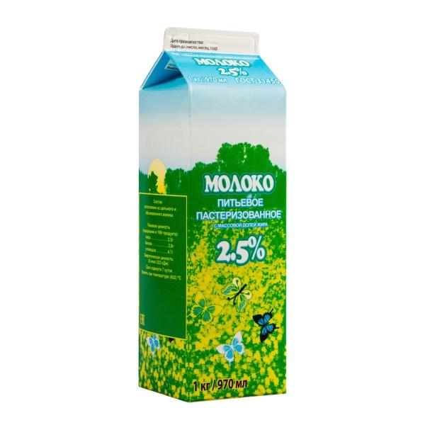 Молоко пастеризованное Шекснинский маслозавод 2,5% 970мл БЗМЖ