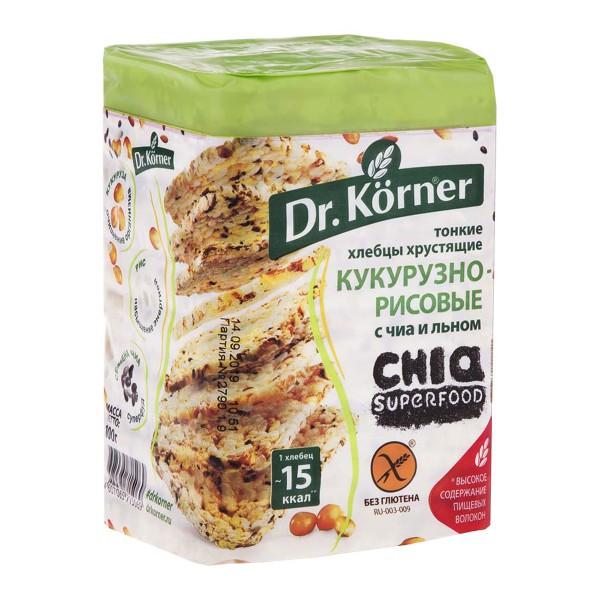 Хлебцы Dr.Korner 100гр кукурузно-рисовые с чиа и льном