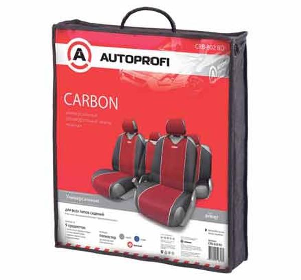 Чехол-майка на сидение Autoprofi carbon 9 предметов черный/красный