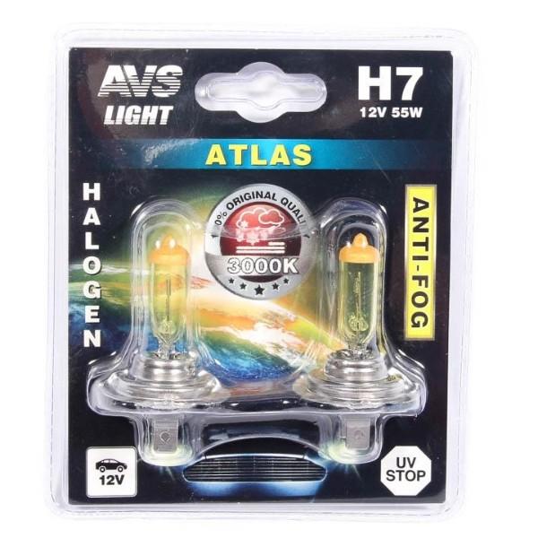 Лампа галогенная AVS Atlas Anti-Fog желтый H7 12V 55W 2шт