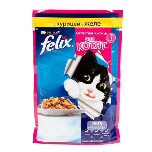 Корм Аппетитные кусочки Felix 85гр для котят с курицей