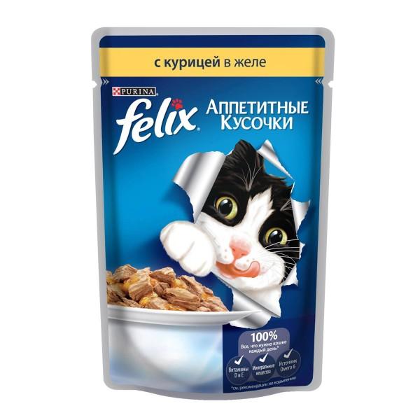 Корм для кошек Аппетитные кусочки Felix 85гр с курицей