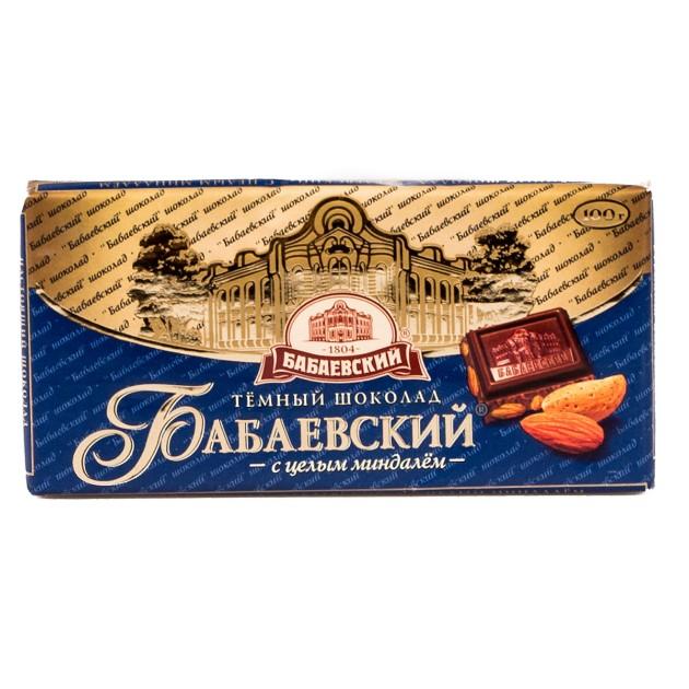 Шоколад темный Бабаевский 100гр с целым миндалем